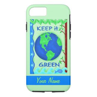 Manténgalo arte verde del ambiente de la tierra de funda iPhone 7