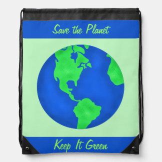 Manténgalo arte verde del ambiente del planeta de mochilas