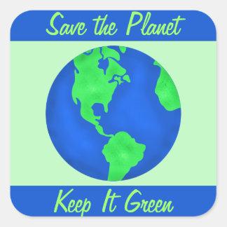 Manténgalo arte verde del ambiente del planeta de colcomanias cuadradass