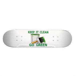 Manténgalo limpio para ir verde tablas de skate