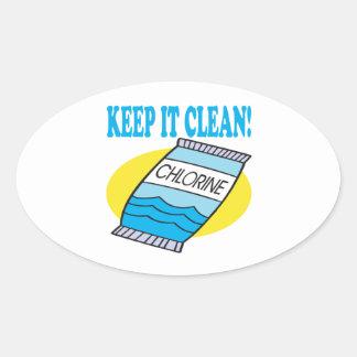 Manténgalo limpio pegatina óval personalizadas