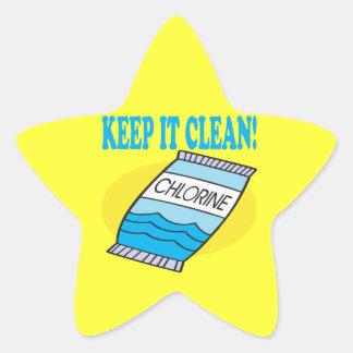 Manténgalo limpio pegatina en forma de estrella