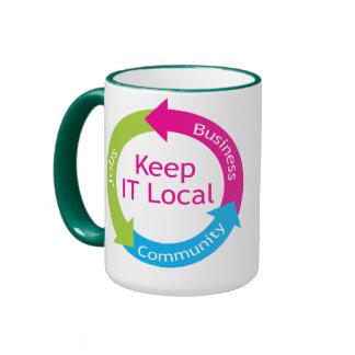 Manténgalo local taza de café