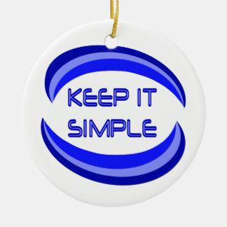 Manténgalo simple adorno navideño redondo de cerámica