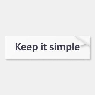 Manténgalo simple etiqueta de parachoque