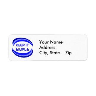 Manténgalo simple etiqueta de remite