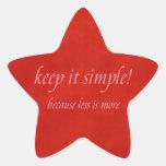manténgalo simple calcomanías forma de estrellas personalizadas