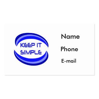 Manténgalo simple tarjetas de visita