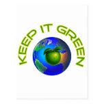 Manténgalo verde tarjetas postales