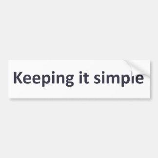 Manteniéndolo simple etiqueta de parachoque