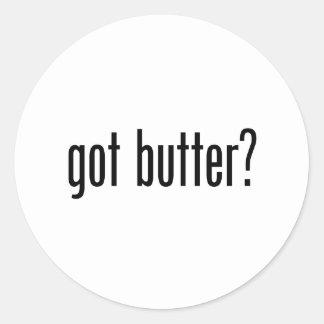 mantequilla conseguida pegatina redonda