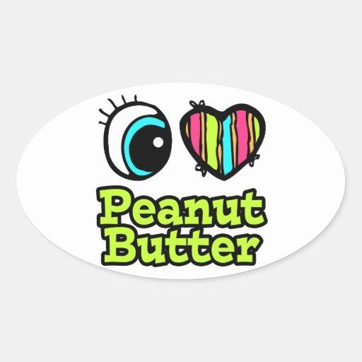 Mantequilla de cacahuete brillante del amor del pegatina ovalada