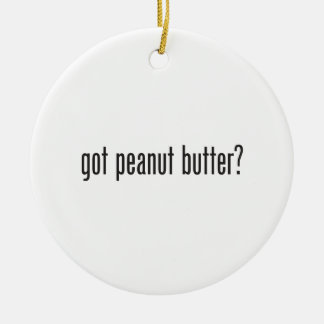 mantequilla de cacahuete conseguida adorno navideño redondo de cerámica