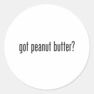 mantequilla de cacahuete conseguida pegatina redonda