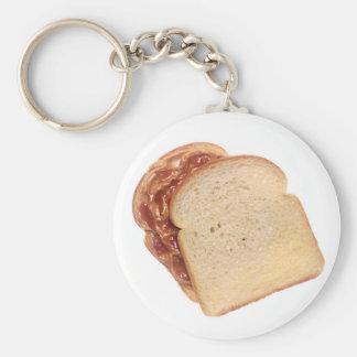 Mantequilla de cacahuete y bocadillo de la jalea llavero redondo tipo pin