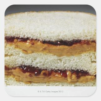 Mantequilla de cacahuete y bocadillo de la jalea pegatinas cuadradases personalizadas
