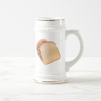 Mantequilla de cacahuete y bocadillo de la jalea jarra de cerveza