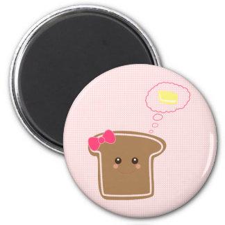 Mantequilla del n de la tostada del chica de Kawai Imanes Para Frigoríficos