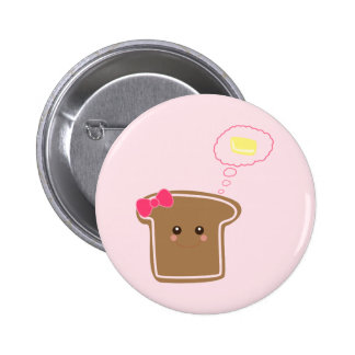 Mantequilla femenina del n de la tostada de Kawaii Pin Redondo 5 Cm