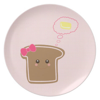 Mantequilla femenina del n de la tostada de Kawaii Platos