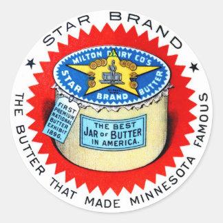 Mantequilla retra de la marca de la estrella del pegatinas redondas