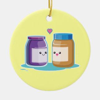 Mantequilla y jalea de cacahuete adorno navideño redondo de cerámica