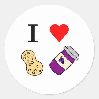 Mantequilla y jalea de cacahuete del corazón I Etiqueta Redonda