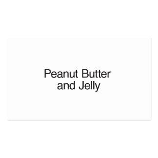 Mantequilla y jalea de cacahuete tarjetas de visita