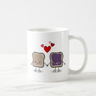 Mantequilla y jalea de cacahuete taza de café
