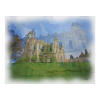 Manti Temple Painting Poster