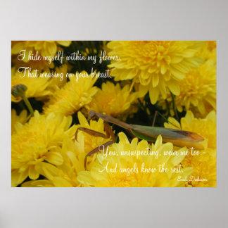 Mantis & Chrysanthemums - Poster #2
