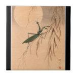 Mantis religiosa y los 1800s japoneses del arte C. Azulejo Cuadrado Pequeño