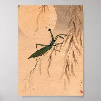 Mantis religiosa y los 1800s japoneses del arte C. Póster
