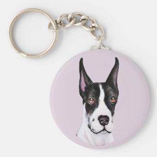 Mantle Pup Great Dane Basic Round Button Keychain