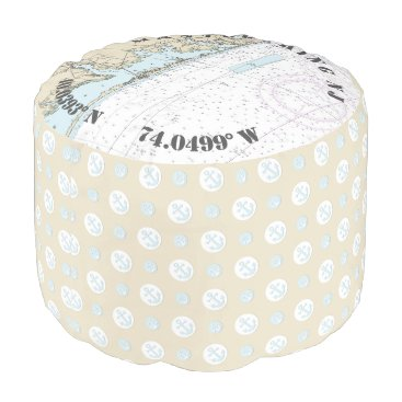 Beach Themed Mantoloking New Jersey Nautical Theme Anchors Pouf