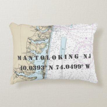 Beach Themed Mantoloking NJ Nautical Chart Latitude Longitude Accent Pillow