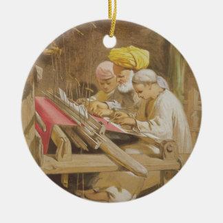 Mantones de la cachemira: El tejer, 1863 Adorno Navideño Redondo De Cerámica