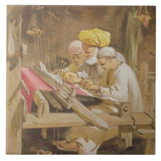 Mantones de la cachemira: El tejer, 1863 (chromoli Azulejo Cuadrado Grande