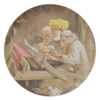Mantones de la cachemira: El tejer, 1863 (chromoli Plato De Comida