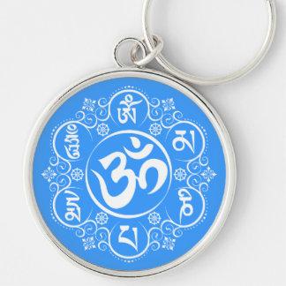 Mantra budista del ronquido de OM Mani Padme Llavero Redondo Plateado