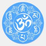 Mantra budista del ronquido de OM Mani Padme Pegatinas Redondas