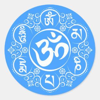 Mantra budista del ronquido de OM Mani Padme Pegatina Redonda
