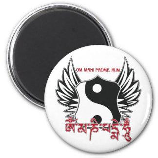 Mantra con alas de Yin Yang Imán De Nevera