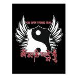 Mantra con alas de Yin Yang Postales