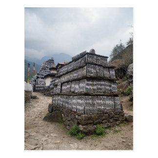 Mantra Covered Shrine in Himalayan Mountains Postcard