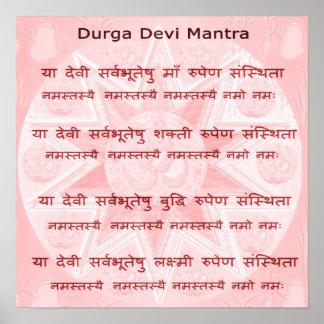 Mantra de Durga - escritura de la meditación de la Póster