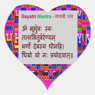 Mantra de Gayatri del mantra de OM Pegatina De Corazón Personalizadas