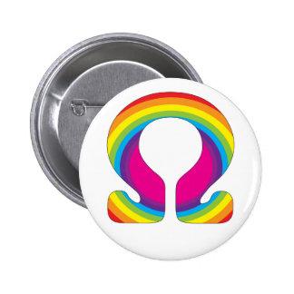 Mantra de la yoga del ohmio del arco iris pin redondo de 2 pulgadas