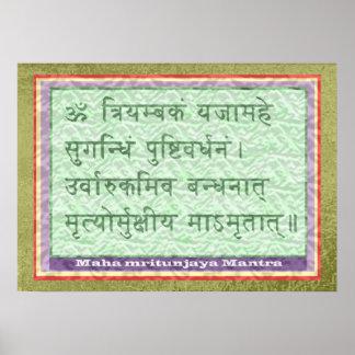 MANTRA de Maha Mritunjaya - frontera santa de la s Poster