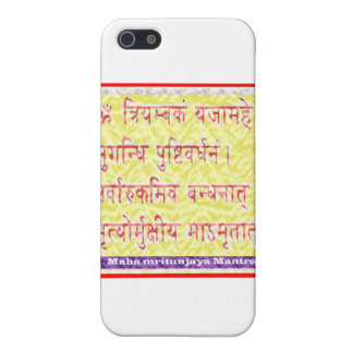 Mantra de MAHAMRITUNJAYA - amarillo de oro iPhone 5 Cobertura